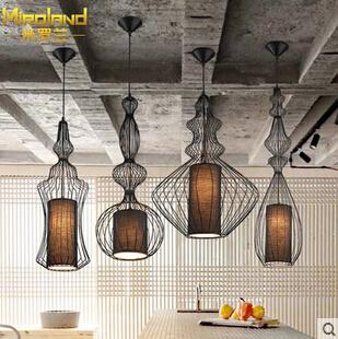 Фотография Modern home decoration black/white dining room iron pendant light bird cage coffee shop light bar light free shipping