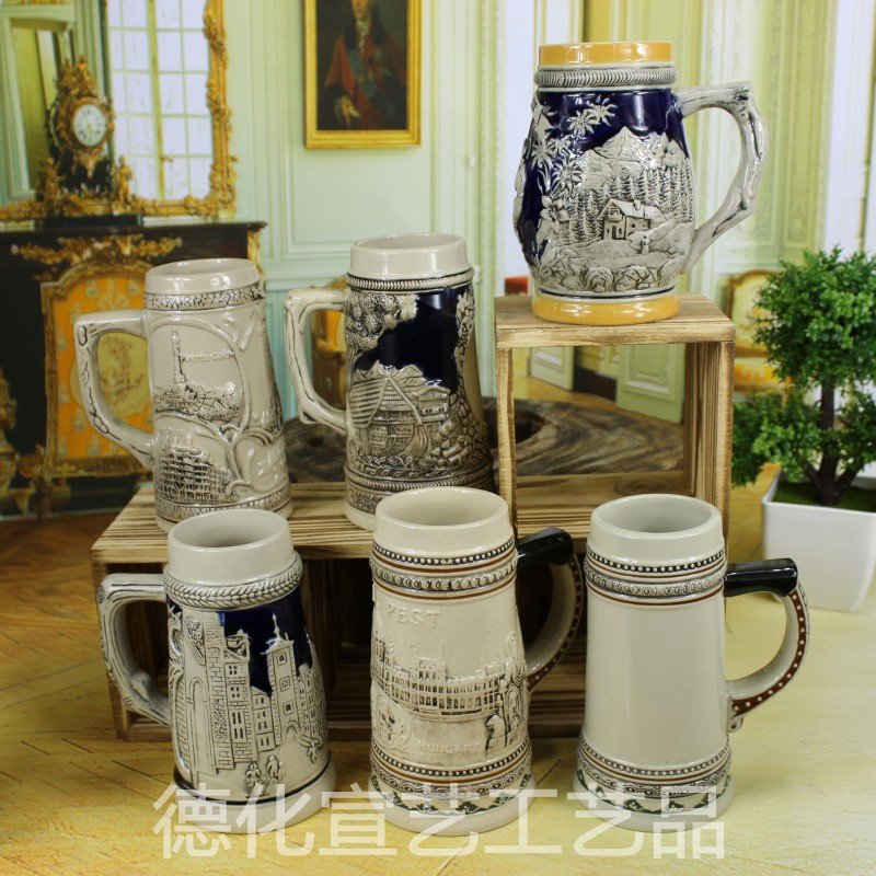 German factory direct special glass ceramic reliefs Cup 15-16cm high bar Louvre Royal Beer Cup<br><br>Aliexpress