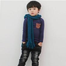 Toddler Baby Long Sleeve Crewneck T-shirt Pocket Deco Boy Girl Shirt Top Clothes QL