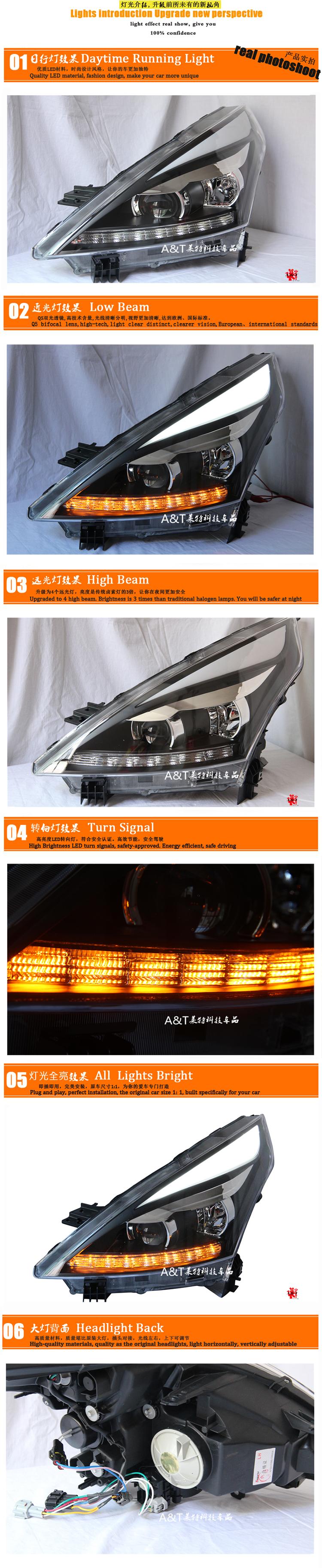 Auto Clud Car Styling for Nissan Teana LED Headlight 2012 Altima Headlight DRL Lens Double Beam H7 HID Xenon bi xenon lens
