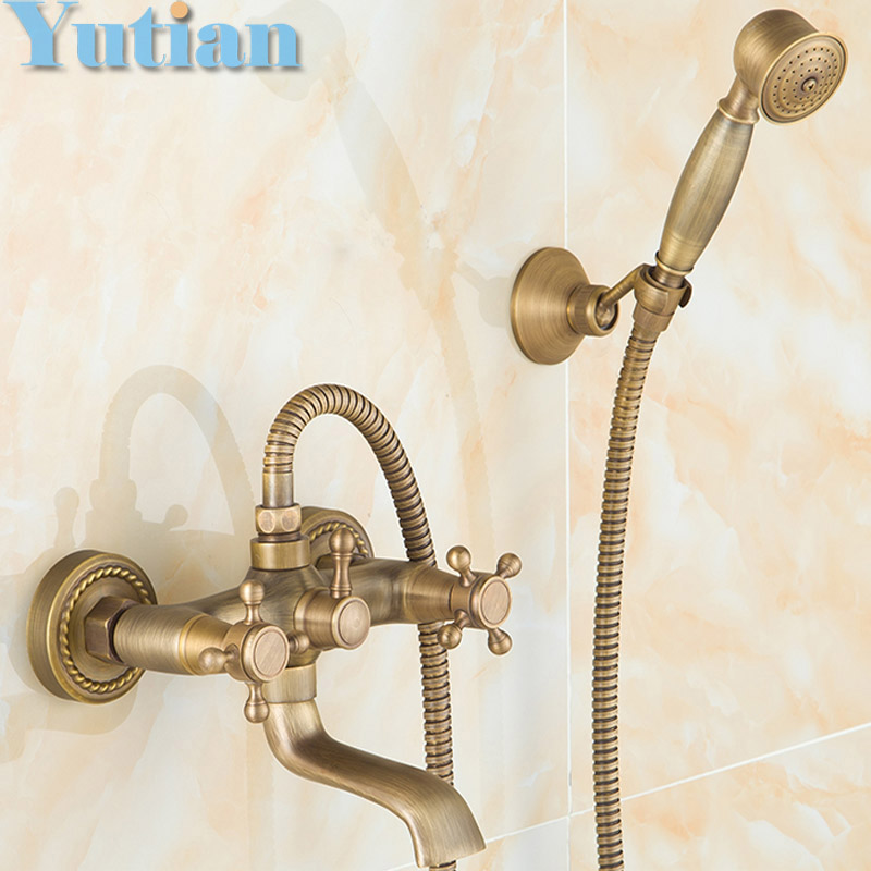 Free shipping Bathroom Bath Wall Mounted Hand Held Antique Brass Shower Head Kit Shower Faucet Sets YT-5338(China (Mainland))