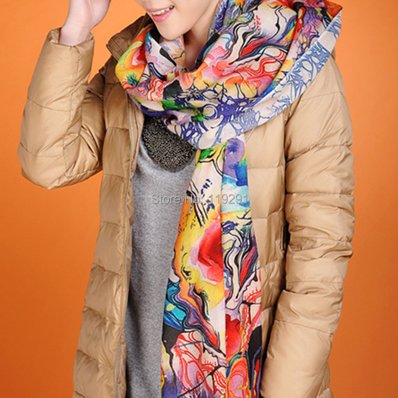 Digital Printing Colorful Bright Design Sexy Warm Winter Fashion Ladies Scarf,Cashmere Shawl Optional Collocation w3920(China (Mainland))