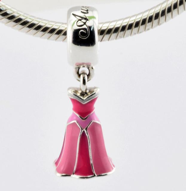 Disny авроры платье розовой эмалью бусины подходит европейским очаровывает браслет 925 оригинал стерлингового серебра Jewerly 2016 весенняя коллекция