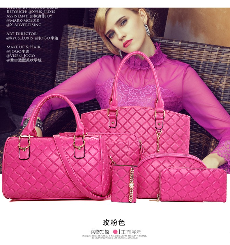 2016 Women Bag Set Plaid Handbag Girls Bags For Women PU Leather Bags Ladies Bolsos Cheap Bags N102