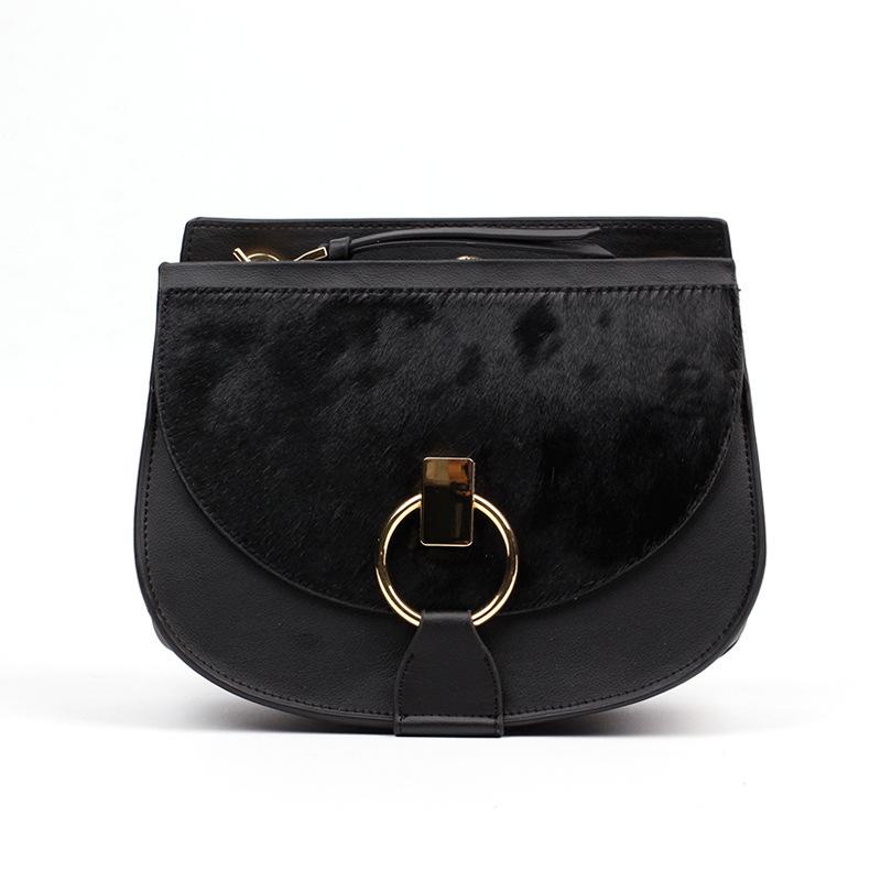 Fashion women genuine leather handbag women saddle bag lady shoulder bag  ,logo prited -free shipping<br><br>Aliexpress