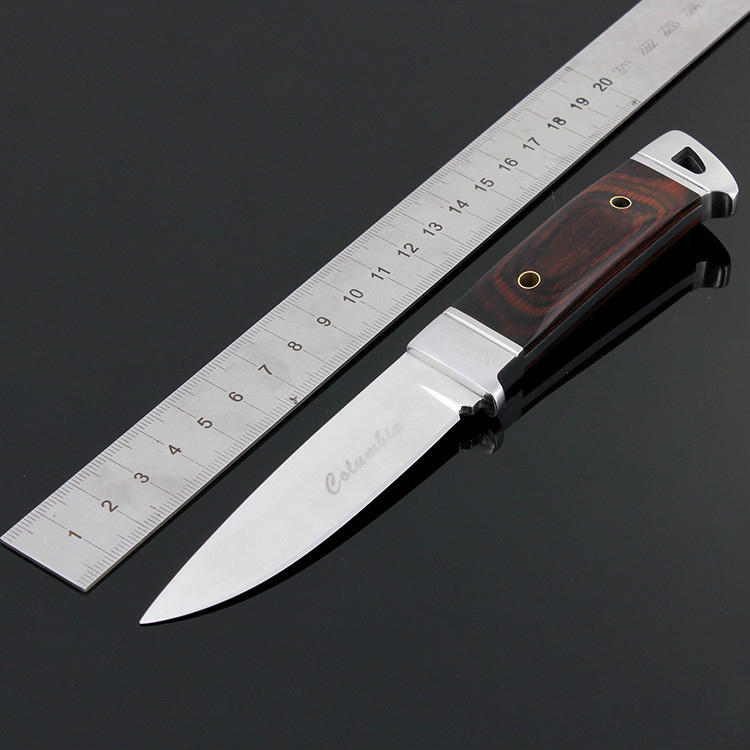 Buy Stainless Steel Fixed Blade Tactical Hunting Knife Wood Handle Outdoor Survival Tool For Camping Self-Defense Hiking Household cheap
