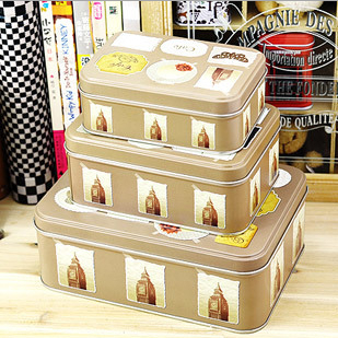 Europe style Tin box 3-Piece set storage box tea tank candy boxes decoration tin plate bins cans tins(China (Mainland))