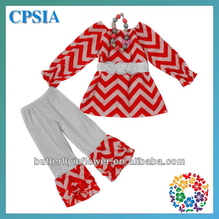 Stylish Xmas Blouse&pants & sash & necklace set Latest Children Christmas Wear White Red ruffle pants outfit dhl free-12sets/lot(China (Mainland))