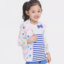 2016 Girls Summer Long Sleeve Dot Printed Hoodies Sun Protection Patchwork Jacket Children Kids Chothes Casual Outwear 4 Size(China (Mainland))