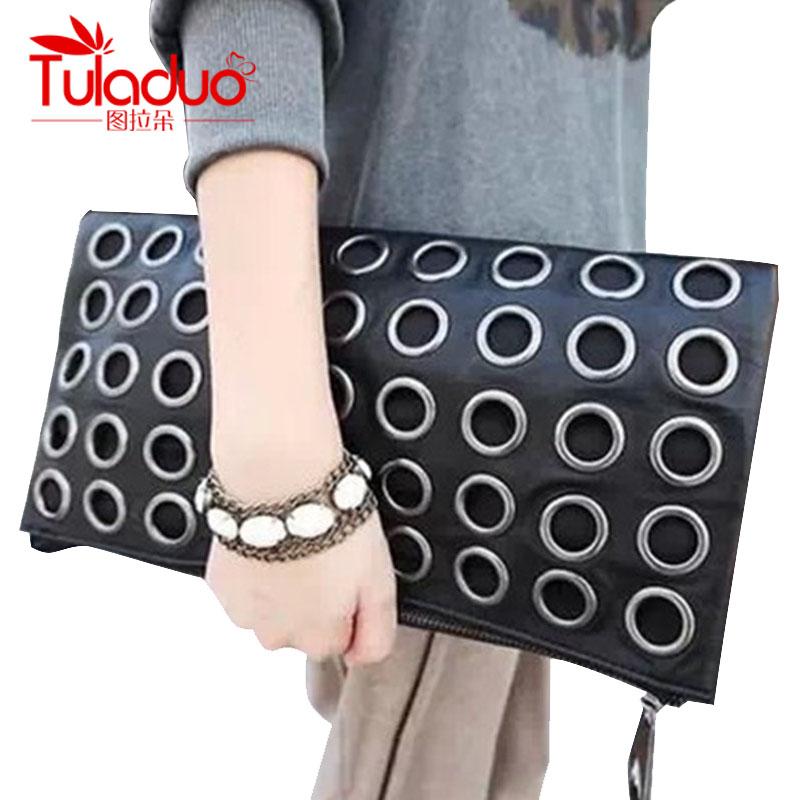 New Fashion Style PU Leather Handbag  Famous Brand Retro Rivet Tote Bag Lady