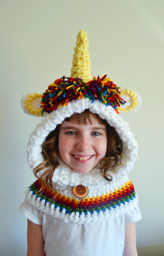 Girls Unicorn Hat/ handmade crochet Unicorn Hoodie Cowl/Animal Hat /Hooded Scarf /Crochet Hoodie /Chunky Crochet Hat(China (Mainland))
