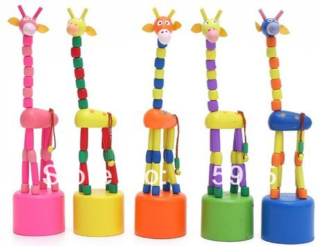cartoon colorful dancing giraffe baby kids Educational wooden toy children Early Learning dance shaking wooden toy free shipping<br><br>Aliexpress