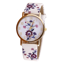 Women's Watch, 2016 New Flower Patterns Leather Watches Lady Girl Dress Relogio Analog Quartz Vogue Wrist Watches