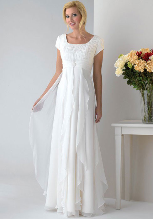 Custom Made White Chiffon Bride Gown A-line Modest Wedding Dress With Sleeves(China (Mainland))