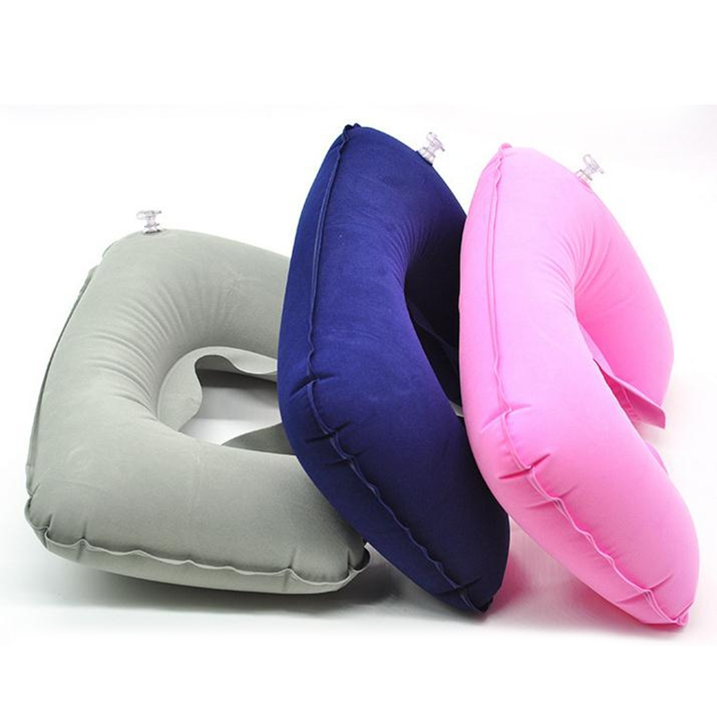 1pc New U Shape Neck Rest Air Inflatable Pillow Travel Plane train Convenient portable Neck Protection Cushions(China (Mainland))
