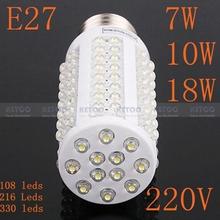 E27 220 V 7 W 108 leds blanc chaud et Nature blanc ampoule LED lampes à économie d'énergie haute luminosité 360 grau(China (Mainland))