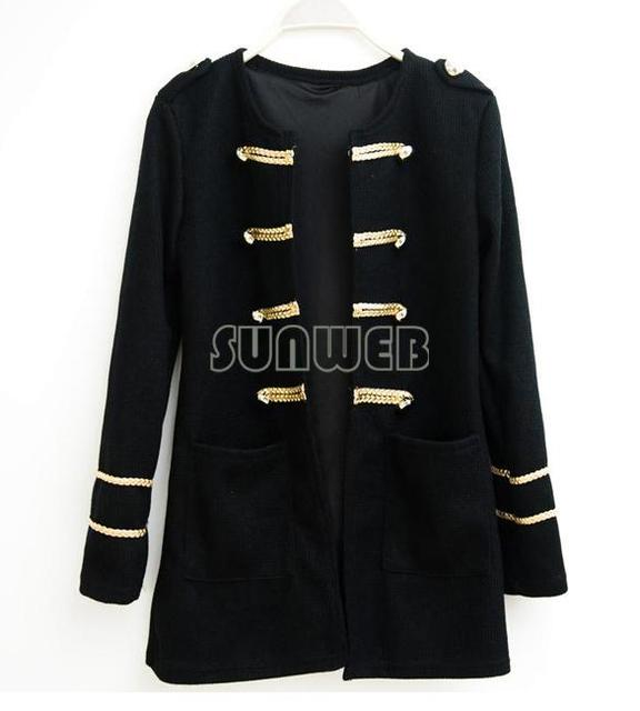 Western Style Gold Button Sweater Double-breasted Cardigan Women's coat Black Restore Ancient Ways Black free shipping 6108