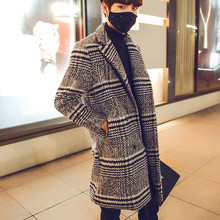 The 2015 men's winter double breasted coat lapel collar slim long wool coat in England coat(China (Mainland))