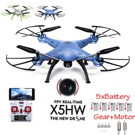 Syma X5HW FPV RC Quadcopter Drone with WIFI Camera 2.4G 6-Axis VS Syma X5SW Upgrade RC Helicopter with 5 battery + 5 in 1 Cable(China (Mainland))