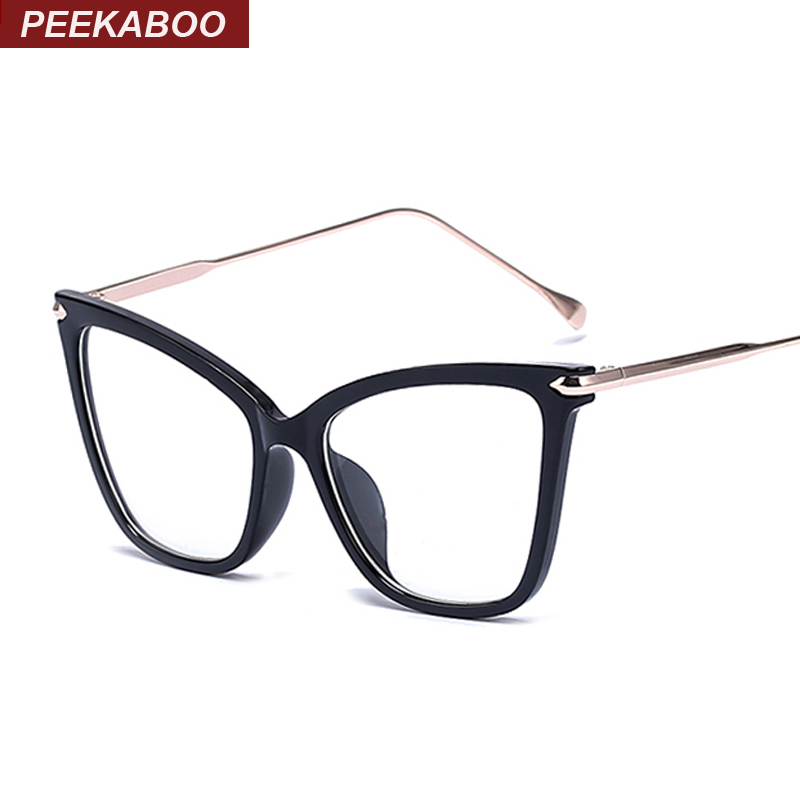 peekaboo black sexy fashion eyewear cat eye designer brand luxury big eye glasses cat eye frames for women female gold oculos