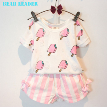 Bear Leader Девушки Одежда 2016 Бренд Девочек Одежда Устанавливает Детская Одежда Лолли Шаблон Детская Одежда Малыша Девушки Топы + Юбка