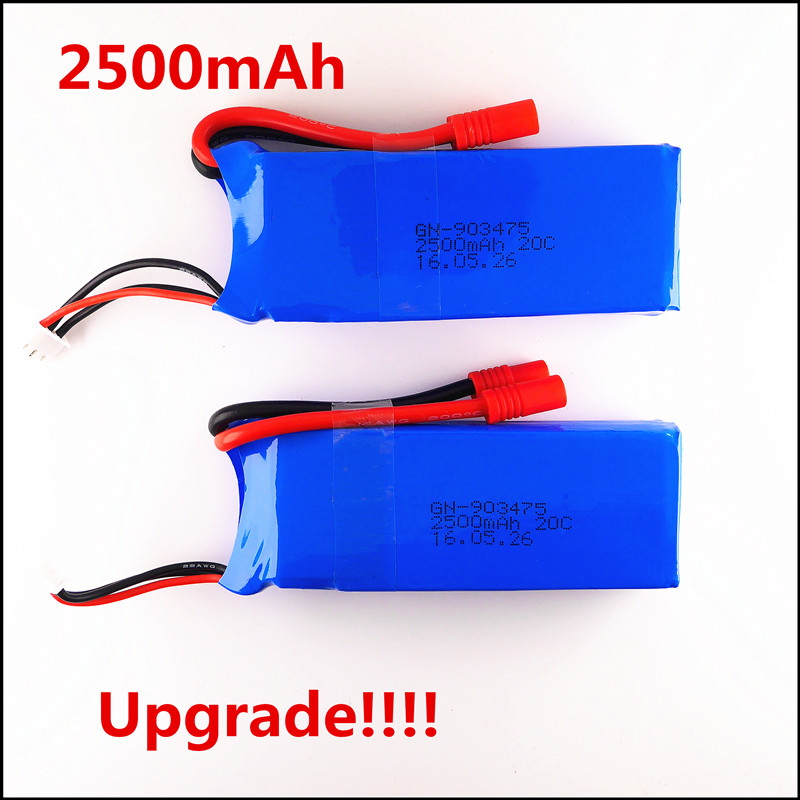Top Drone Lipo Battery 2pcs 7.4V 2500mah 3S Syma X8C Battery X8W Spare Part For Wltoys V262 X8W X8C X8 Quadcopter RC Helicopter(China (Mainland))
