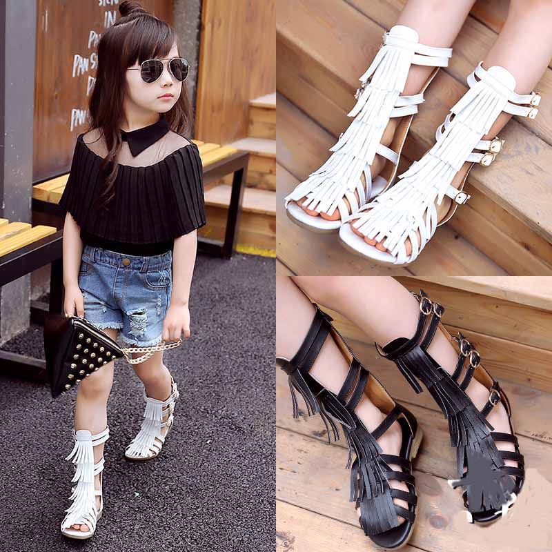 "Vintage Genuine Leather Infant/Toddler/Kid/Child Tassel Gladiator Sandals Baby Girl Summer Knee High Boots 5.07-7.22"" Shoes(China (Mainland))"