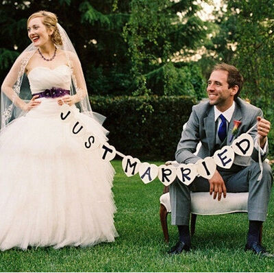JUST MARRIED for wedding Party decoration photo booth props Banners supplies Bunting Garland Handmade photobooth photocall(China (Mainland))