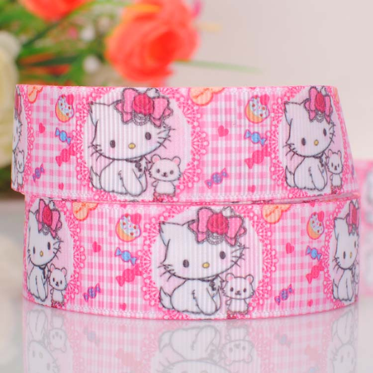 "10yards 7/8""22mm Cartoon cat Ribbon printed grosgrain Hello Kitty ribbon for party bows or furniture decorations(China (Mainland))"