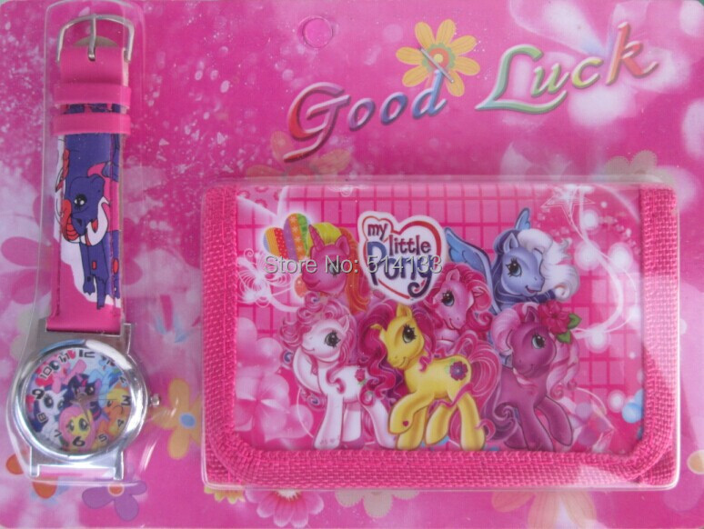 New Free shipping 3pcs/lot my little pony cartoon watch Wrist watches and purses Wallet ,best gift<br><br>Aliexpress