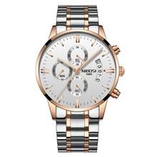 NIBOSI ファッションメンズ腕時計トップブランドの高級クォーツ時計スポーツウォッチ男性フル鉄鋼事業防水時計レロジオ Masculino(China)