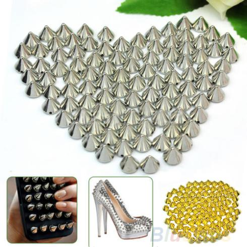 100 PCS 10mm Silver Metal Stud Rivet Spikes Craft Case Shoes Bag Leathercraft Accessories DIY Accessories 02DT(China (Mainland))