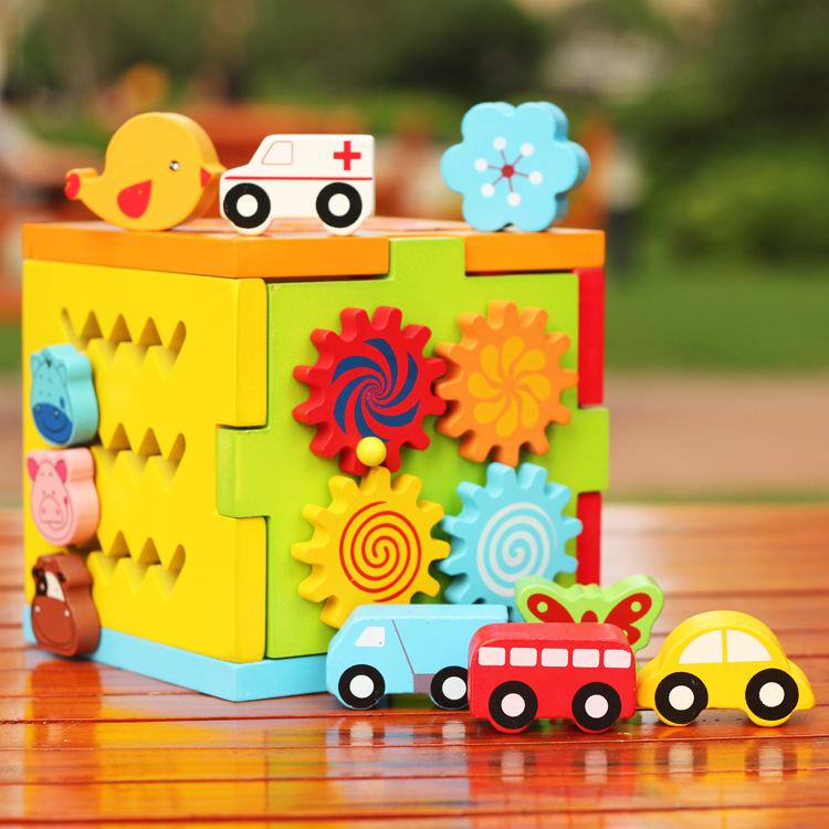 baby wooden multi function Intelligence box blocks / kids child cartoon assemble block vehicle animal educational toys - little Angel children Co.,Ltd store