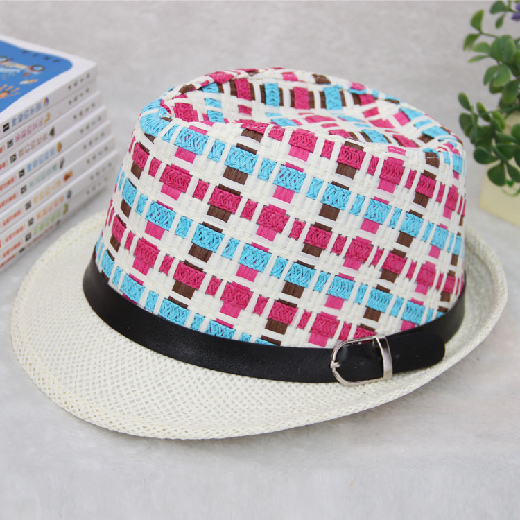 2015 Unisex Limited Kentucky Derby Hats For Sombrero New Spring And Summer Small Straw Hat Lattice Children Leisure Sun(China (Mainland))