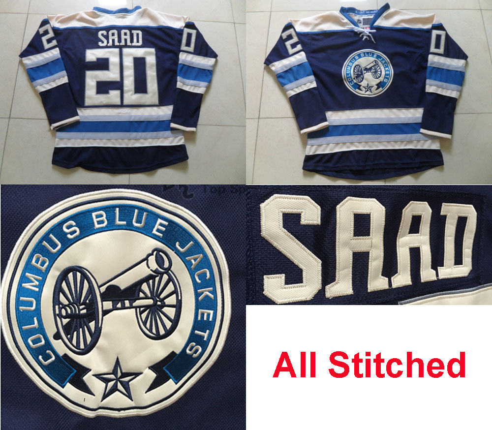 #20 Brandon Saad Jersey Men's Columbus Blue Jackets Hockey Jersey New Alternate Blue Home Cheap Brandon Saad Stitched Jersey