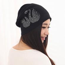 2016 New Fashion Unisex Hip-hop Hats Spring Women Men Winter Dress Skullies European Style Rhinestone Printed Warm Beanies Gorro