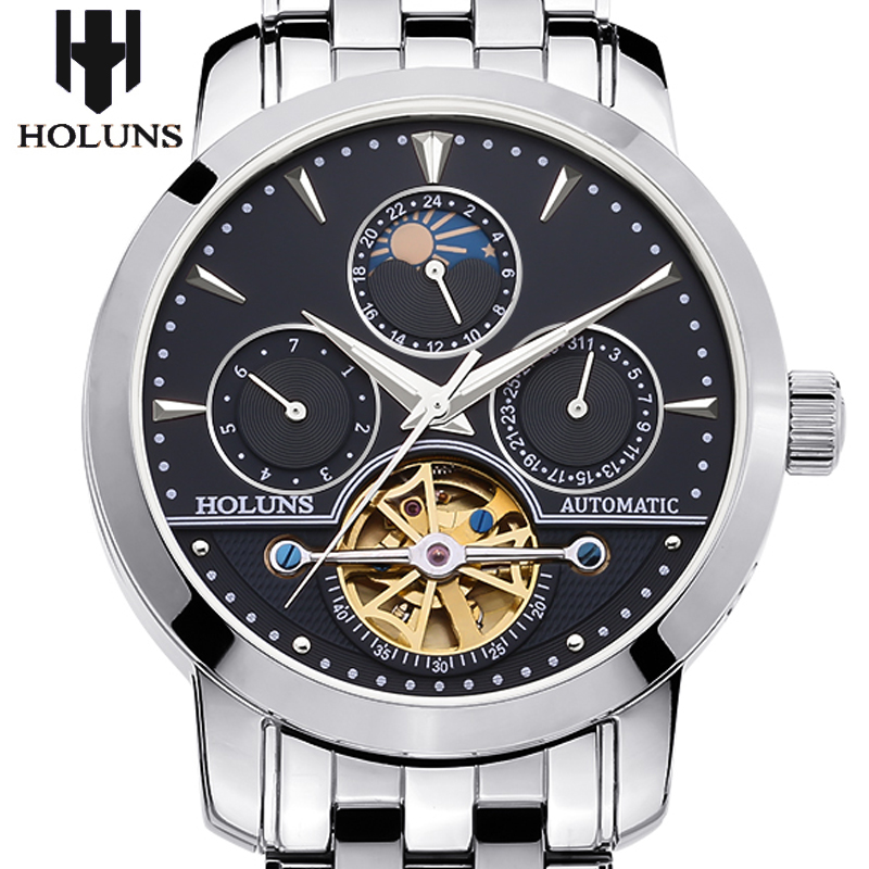 men automatic mechanical watch hollow steel fashion business waterproof male table Tourbillon 2016 Holuns watches Gift of choice(China (Mainland))