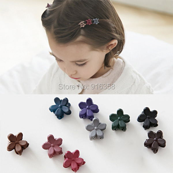 5 Different Colors/Lot Mini Frosted Flower Hair Claws Bang Clips Hair Clips Hair Accessories for kids Baby Girls(China (Mainland))
