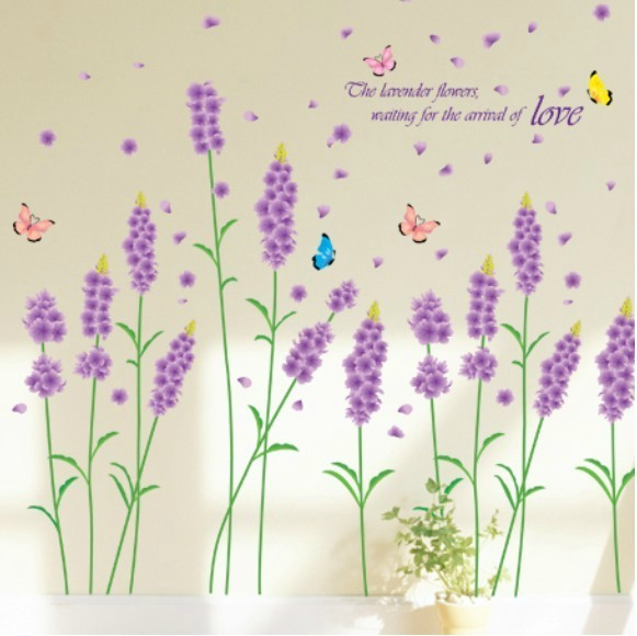 Lavender wall stickers romantic 9.9 tv sofa wall stickers wall painting