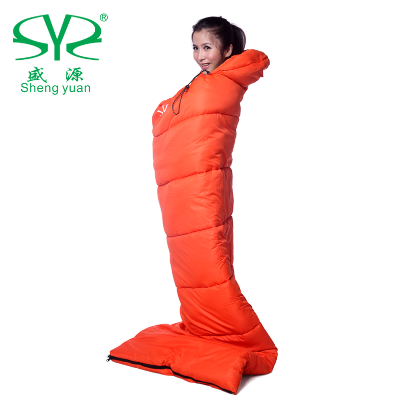 Shengyuan outdoor sleeping bag cotton flannel 100% autumn and winter ultra-light patchwork adult envelope 1.8kg(China (Mainland))