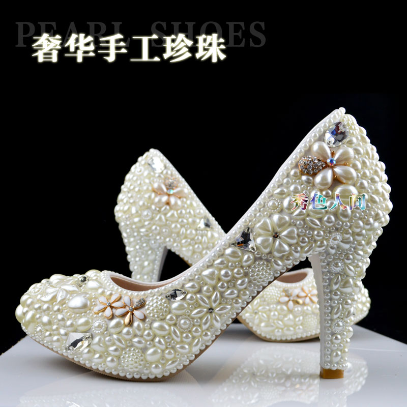 Handmade pearl wedding shoes low-heeled and high heels shoes white dress bridal shoes maternity wedding shoes ppumps women