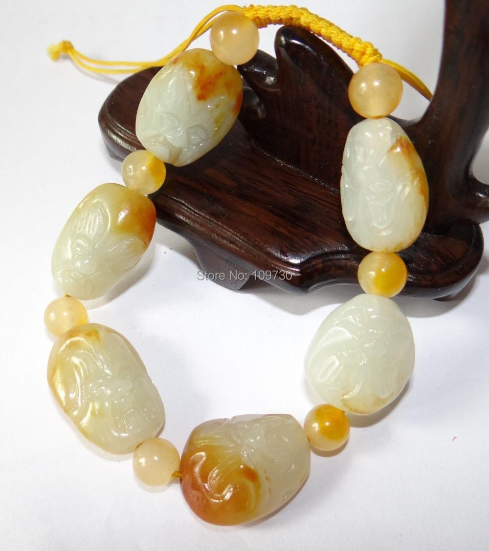 Здесь можно купить  00947 Chinese Nature Hetian Nephrite Jade Yellow Skin Lohan Buddha Bracelets  Ювелирные изделия и часы