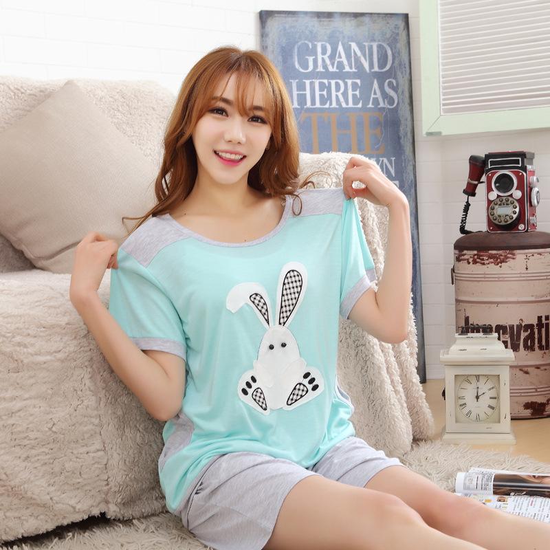 100% Cotton Brand Pajamas Summer New Style Casual Women Pajama Set Short sleeve Pants Home Dress(China (Mainland))