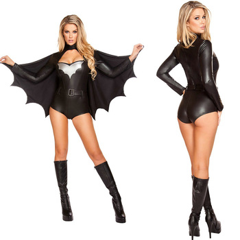 Cosplay Batmam Women Sexy Halloween Costume Black Faux Leather Party