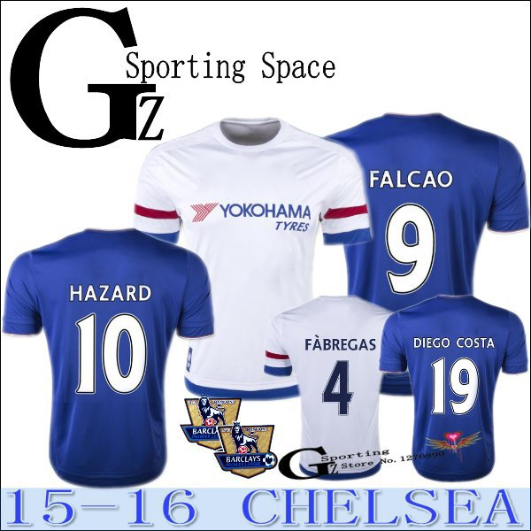 2016 Chelsea 15 16 Home away white 2nd black soccer jersey Football shirt CUADRADO OSCAR FALCAO DIEGO COSTA HAZARD FABREGAS(China (Mainland))