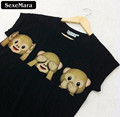 SexeMara Summer Three Monkey Cartoon Tops Black Women O neck Kawaii T shirts Punk Harajuku Short