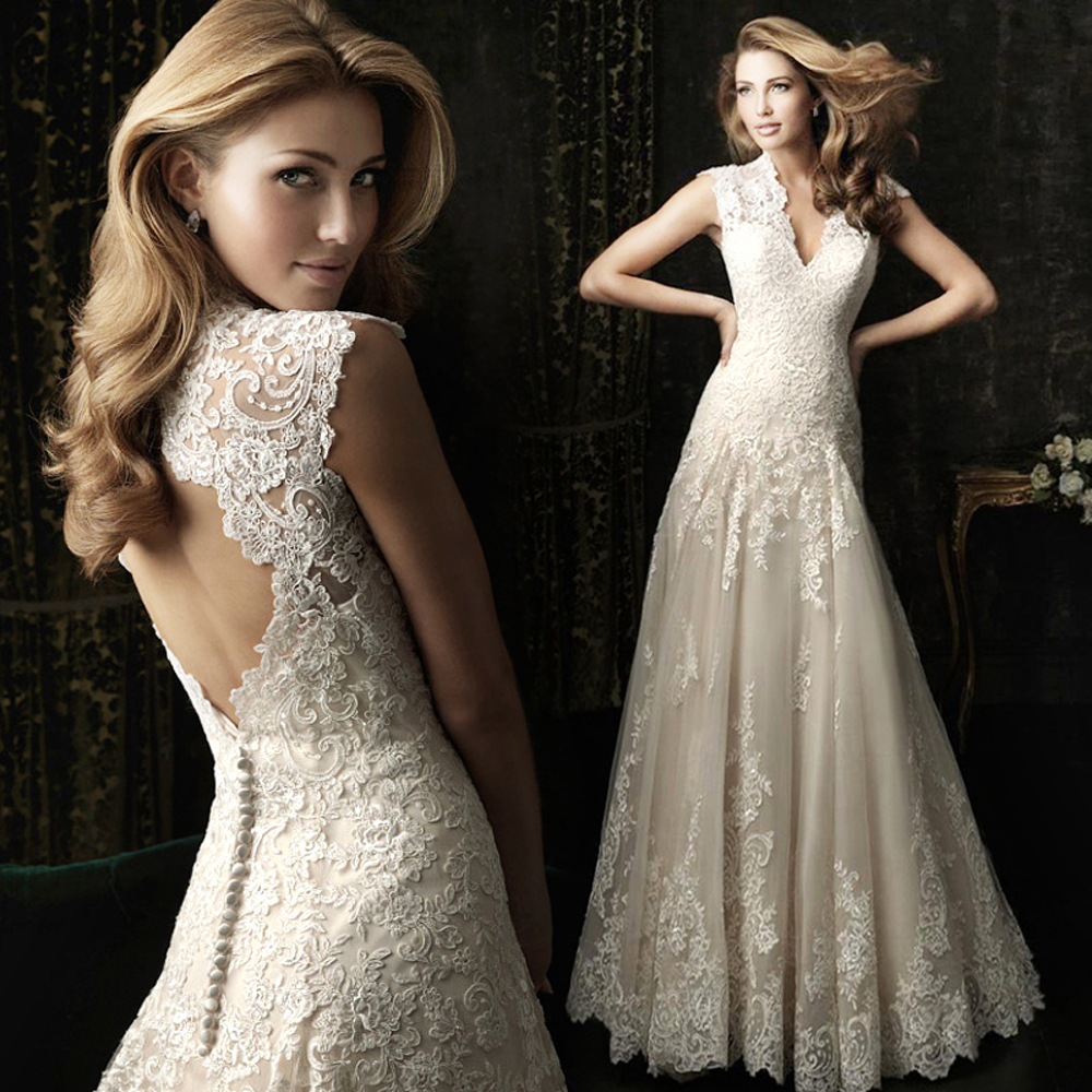 2016 New Beading Crystal mermaid v neck floor length Lace White Wedding Dresses 312- - zkc uncle Store store