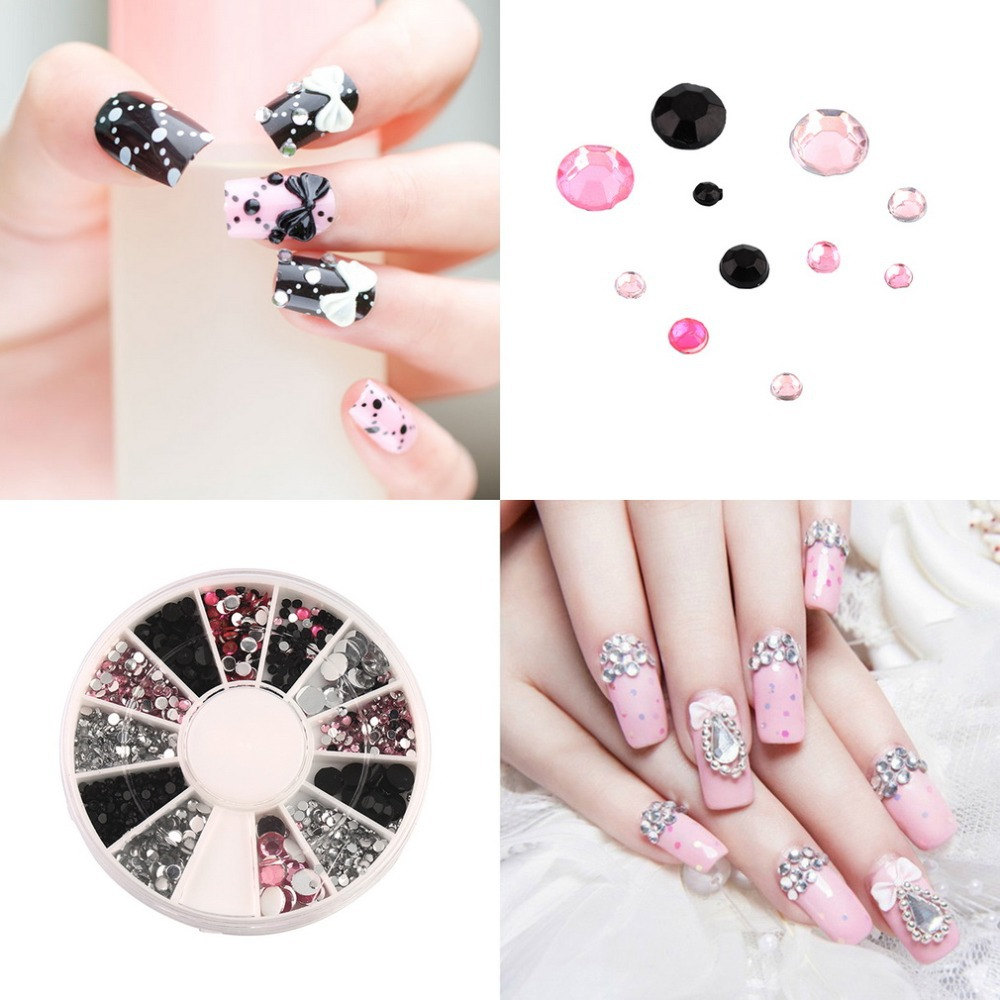 1pc Colorful Nail Art rhinestones Acrylic Nail Decoration 4 sizes For UV Gel Iphone and laptop DIY Free Shipping Brand New(China (Mainland))