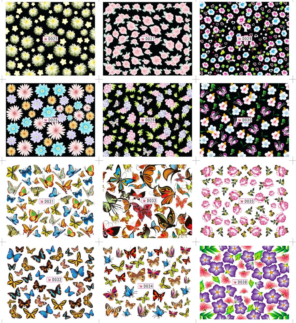 24 kinds hot sale white flower art sticker fashion beauty DIY elegant colorful butterfly simple nail polish french manicure(China (Mainland))