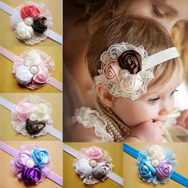 Волосы аксессуары новорожденный малыш девочки младенцы кружево цветы атлас лента ...